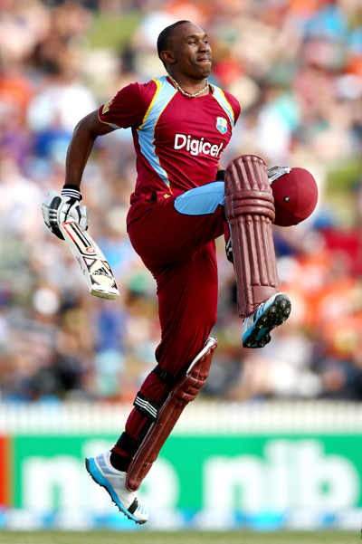 Dwayne Bravo of the West Indies celebrates