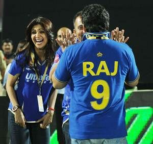 Rajasthan Royals owners Shilpa Shetty and Raj Kundra during an IPL-7 match