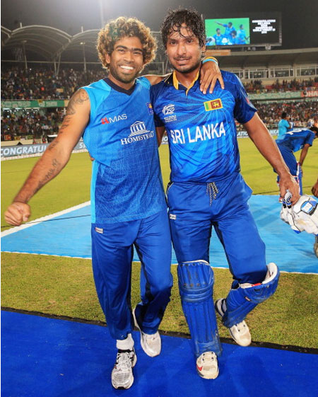 Lasith Malinga and Kumar Sangakkara of Sri Lanka celebrate
