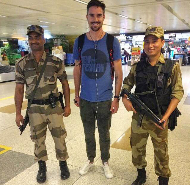 Kevin Pietersen at the Delhi airport