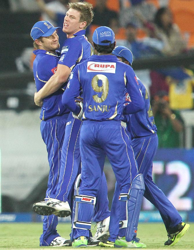 Rajasthan Royals players celebrate the fall of a wicket during the last IPL season