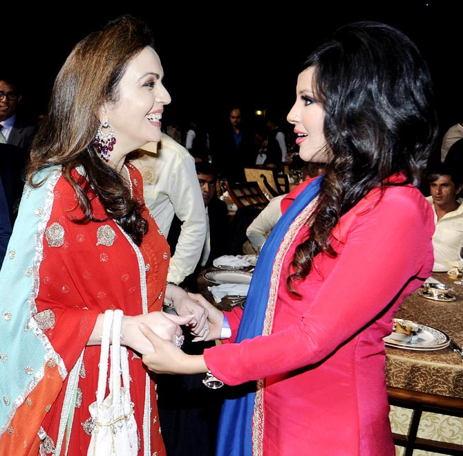 Nita Ambani (left) with Sakshi Dhoni