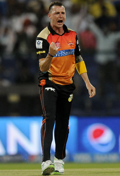 Dale Steyn of Sunrisers Hyderabad celebrates a wicket