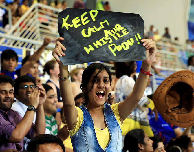 A Chennai Super Kings fan in the stands