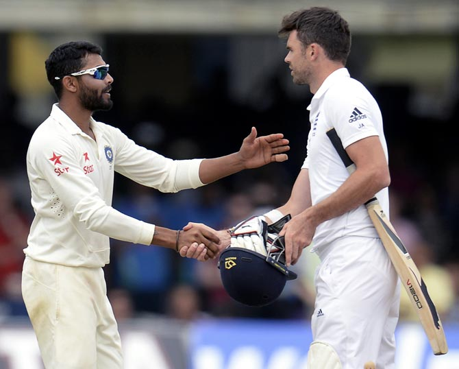 Ravindra Jadeja (left) shakes James Anderson's hand after the Lord's Test