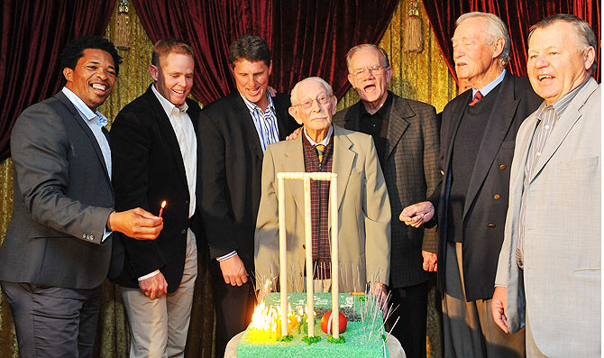 Norman Gordon with Makhaya Ntini, Shaun Pollock, Fanie de Villiers, Peter Pollock, Neil Adcock and Mike Procter during the 100th birthday celebrations in Johannesburg in 2011