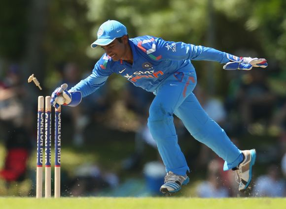 Sanju Samson effects a stumping.