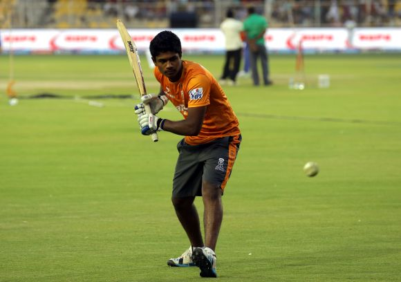 Sanju Samson in the nets.