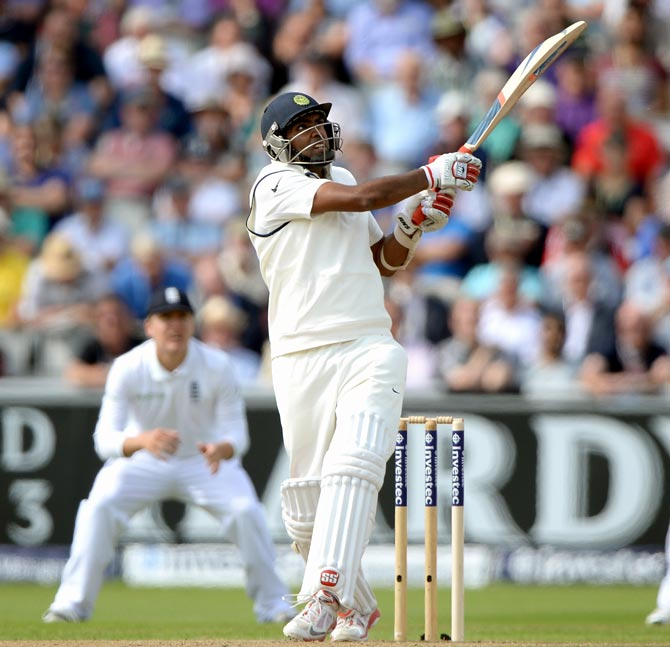 Ravichandran Ashwin of India bats during day one