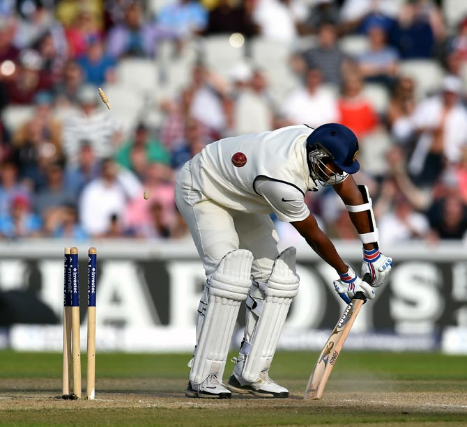 India's Pankaj Singh is bowled by Chris Jordan