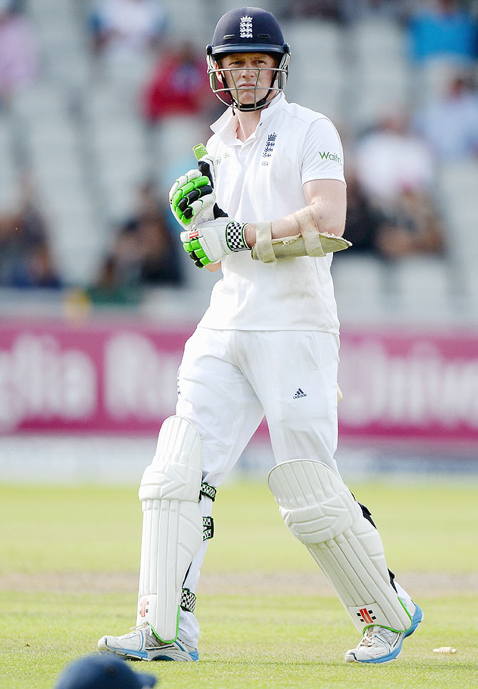 Sam Robson of England leaves the field after being dismissed by Bhuvneshwar Kumar during Day 1 of the fourth Test