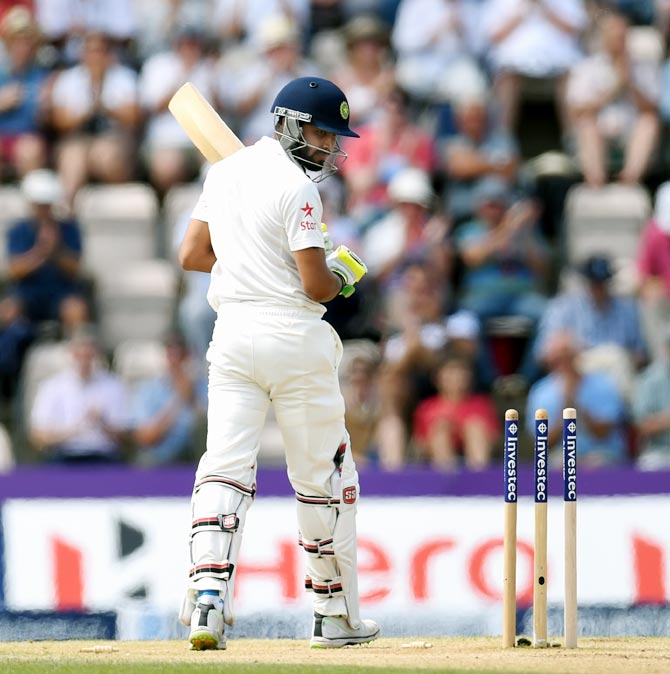 Ravindra Jadeja reacts after his dismissal during the third Test in Southampton