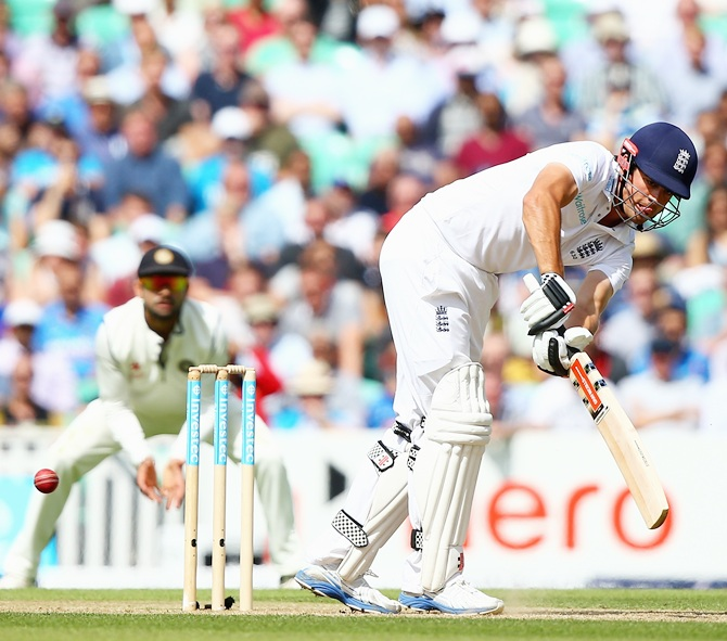 Aastair Cook of England hits out during day two of the 5th Investec Test match between England and India