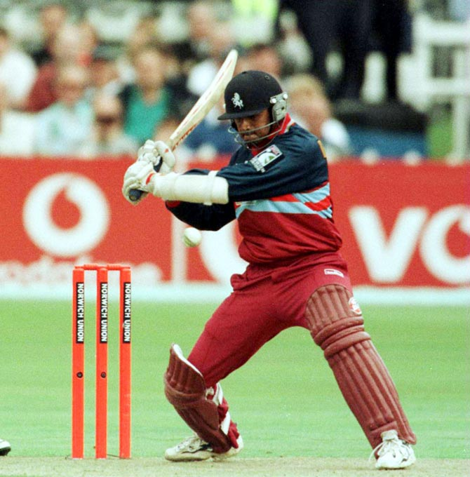 India's Rahul Dravid in action for English county side Kent in September 2000