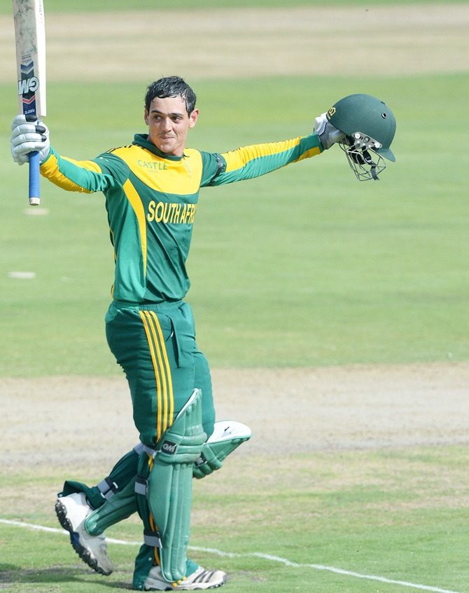 Quinton de Kock of South Africa celebrates