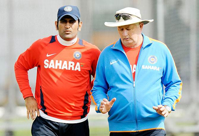 Skipper Mahendra Singh Dhoni, left, and coach Duncan Fletcher