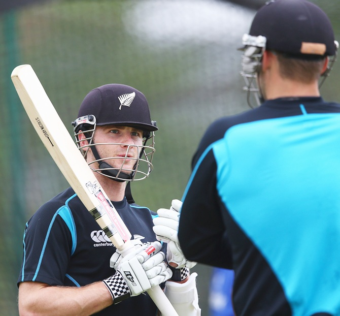 New Zealand captain Kane Williamson at a nets session