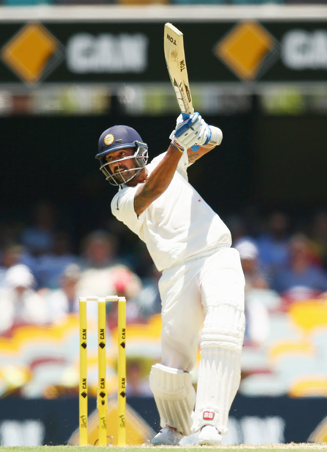 Murali Vijay on his way to a hundred in the second Test at the Gabba in Brisbane, December 18, 2014. Photograph: Cameron Spencer/Getty Images