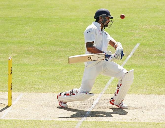 India opener Murali Vijay bats on Day 3 of the first Test against Australia in Adelaide