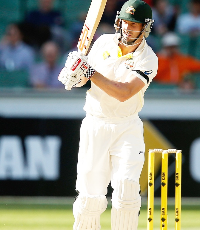 Shaun Marsh on day four of the third Test against India at the Melbourne Cricket Ground. Photograph: Darrian Traynor/Getty Images