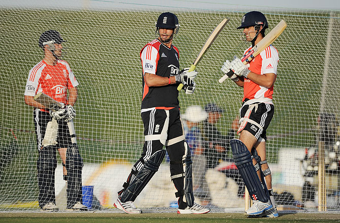 Kevin Pietersen, left, with England Captain Alastair Cook, with whom he is said not to have gotten along