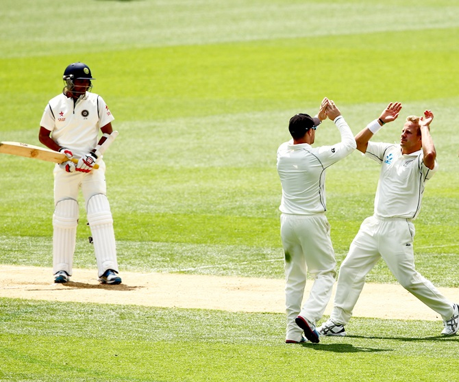 Neil Wagner celebrates Mohammed Shami's wicket.