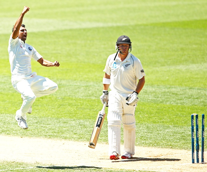 Mohammed Shami celebrates bowling Corey Anderson.