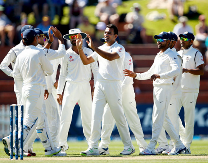Zaheer Khan of India celebrates his wicket of Kane Williamson of New Zealand during day three