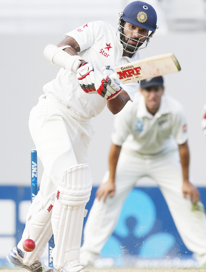 Shikhar Dhawan bats in the first Test