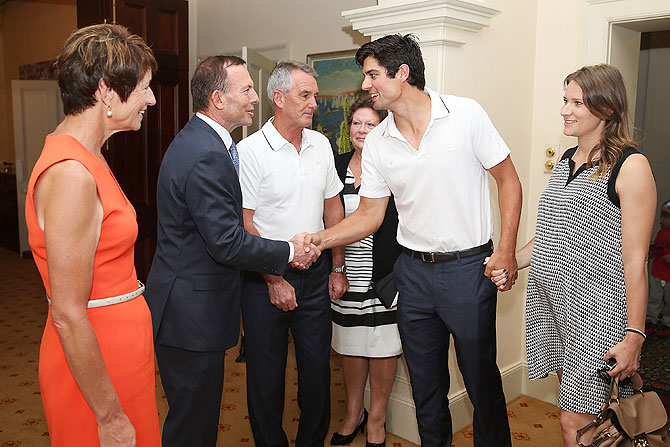 Australian Prime Minister Tony Abbott meets Alastair Cook of England on Wednesday