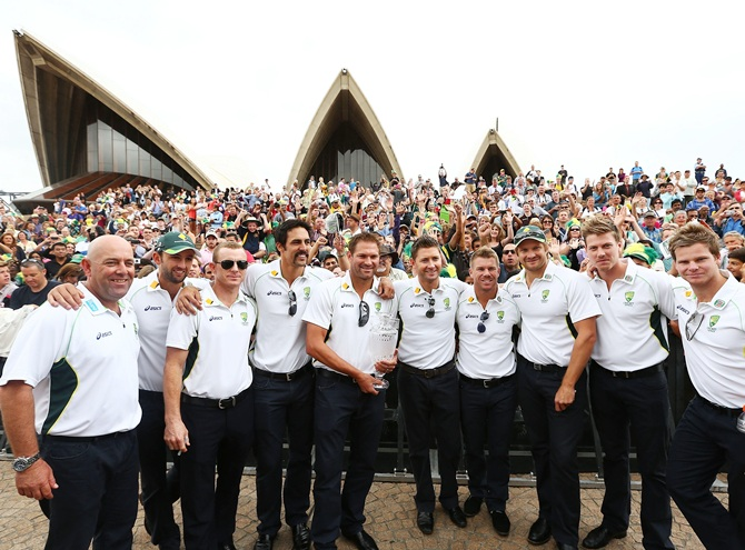 Australia's Ashes team poses during the celebrations at Sydney Opera House