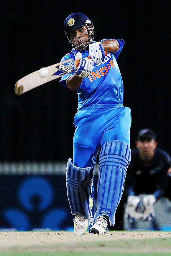 MS Dhoni of India bats