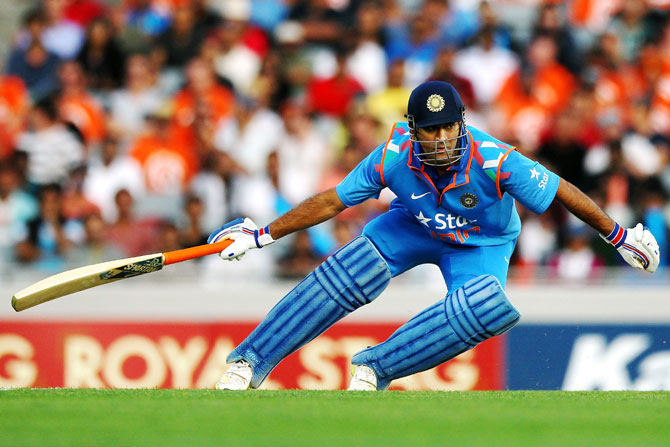 MS Dhoni of India makes his run