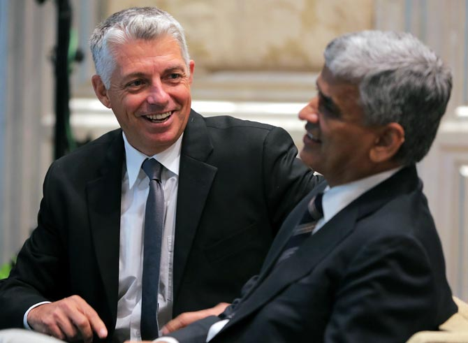 David Richardson, Chief Executive Officer of International Cricket Council (left) with BCCI secretary Sanjay Patel