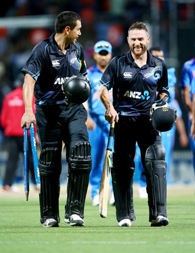 Ross Taylor (left) and Brendon McCullum of New Zealand leave the field following the game at Seddon Park