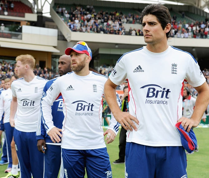 England captain Alastair Cook lines up with his team