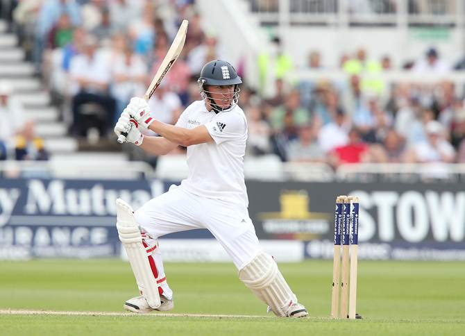 Gary Ballance cuts the ball for a boundary