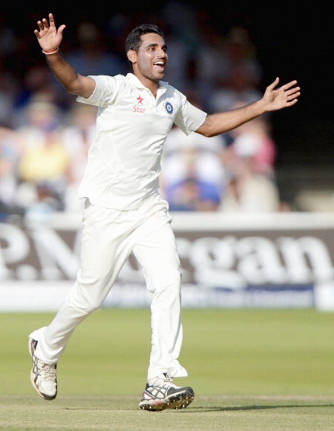 Bhuvneshwar Kumar celebrates dismissing England batsman Gary Ballance on Day 2 of the second Test at Lord's