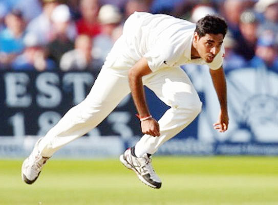 Bhuvneshwar Kumar in action during Day 2 of the first Test between England and India at Trent Bridge