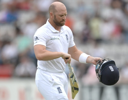 Matt Prior of England leaves the field after being dismissed by Ishant Sharma