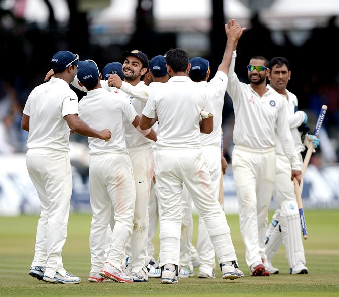 India's players celebrate after winning the Lord's Test
