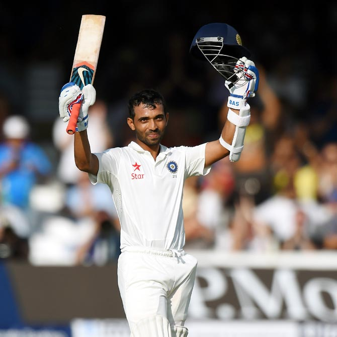 Ajinkya Rahane celebrates after reaching his century