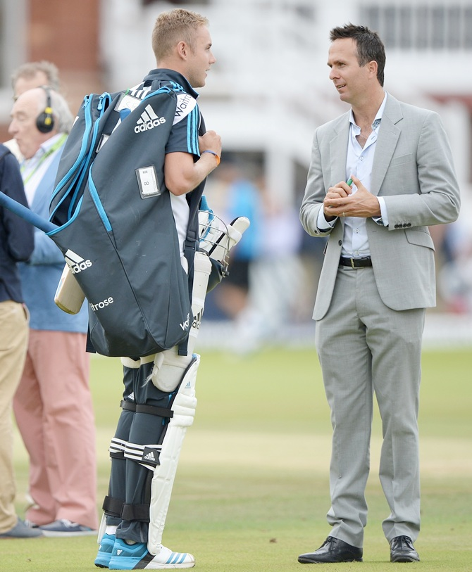 Test Match Special commentator Michael Vaughan speaks with England pacer Stuart Broad
