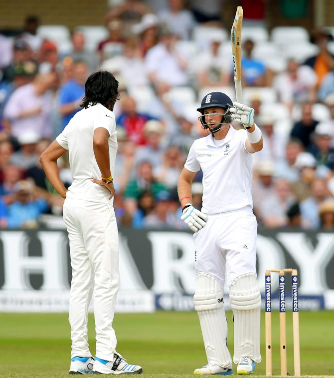 England batsman Joe Root (right) and India bowler Ishant Sharma exchange words