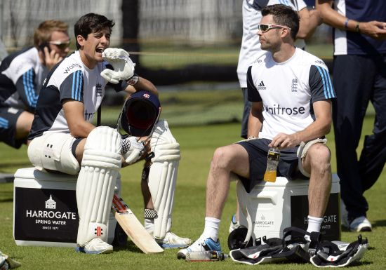 James Anderson and Alastair Cook during a training session