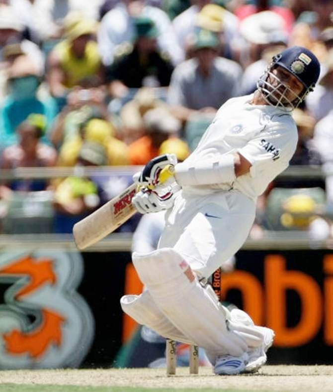 Sachin Tendulkar avoids a rising delivery from Brett Lee during the Third Test between Australia and India at the WACA on January 16, 2008.