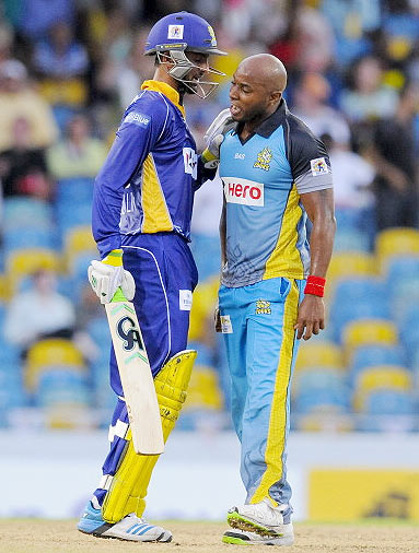 Shoaib Malik and Tino Best are involved in an altercation during their CPL match on Wednesday