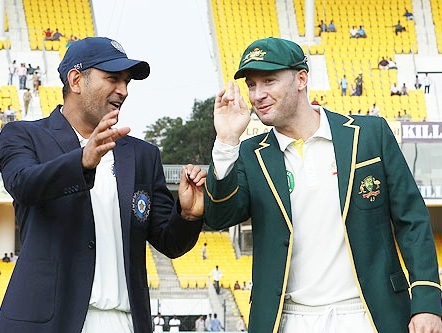 MS Dhoni of India and Michael Clarke Captain of Australia