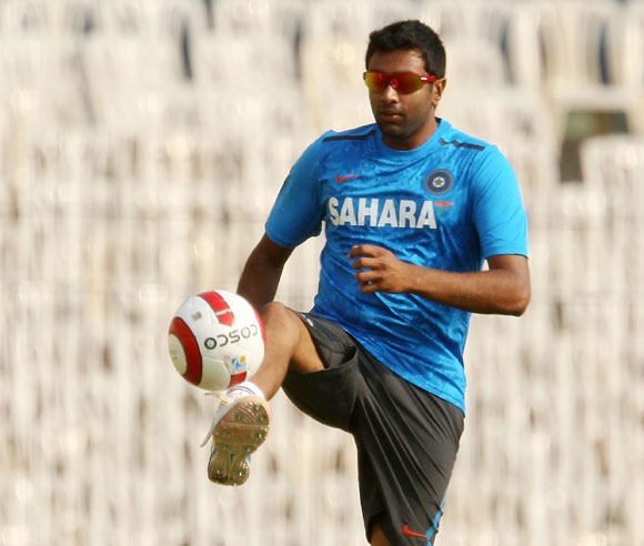Ravichandran Ashwin during a practice session.