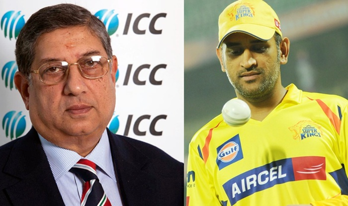 N Srinivasan and MS Dhoni, right